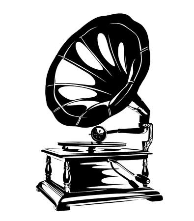 record player: Vintage Gramophone Stencil Illustration