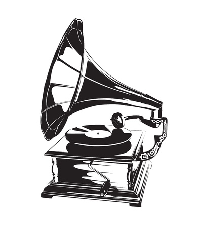 crankshaft: Vintage Gramophone Stencil Illustration