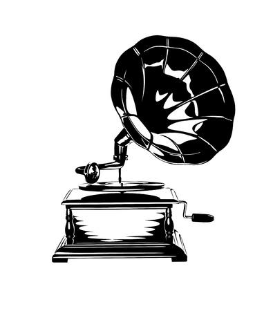 Vintage Gramophone Stencil Illustration