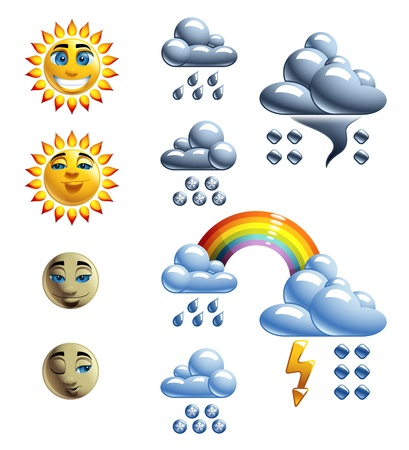 Weather Forecast Set  with Loony Characters Vector
