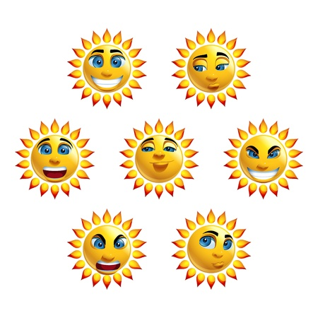 Sun Face Loony Characters Vector