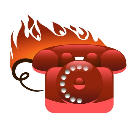 Hot-Line Vintage Analogue Phone Icon Stock Vector - 13711240