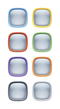 Squared Glossy Plastic And Metal Button Set Vector