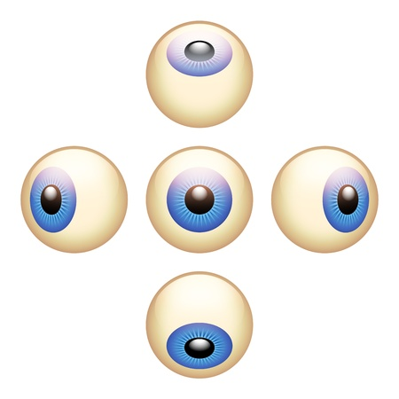 blue eye: 5 Directions Eyeballs Illustration