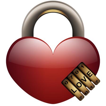 secret love: En forma de coraz�n candado con combinaci�n de la cerradura Icono
