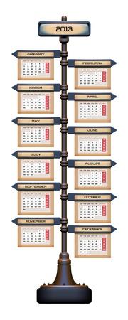 Sign Post Calendar 2013 Stock Vector - 14640908