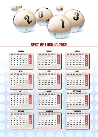 Lotto Balls Calendar 2013. Vector