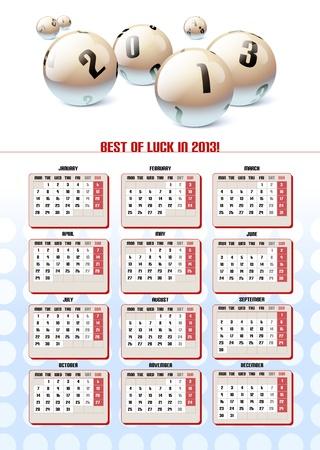 Lotto Balls Calendar 2013.