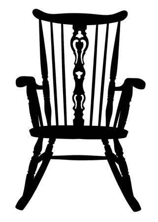 Vintage Rocking Chair Stencil Vector