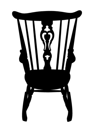 Vintage Rocking Chair Stencil - Rear Vector