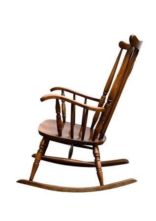 Vintage Damaged Rocking Chair - Left Side Stock Photo