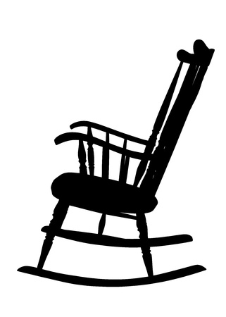 Vintage Rocking Chair Stencil - Left Side Vector