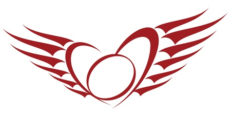 Winged Heart Tattoo Frame Vector
