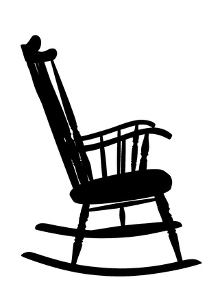 Vintage Rocking Chair Stencil - Right Side Stock Vector - 15605026