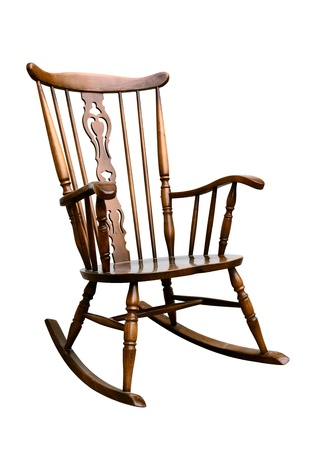rocking chair: Vintage Damaged Rocking Chair - Right Side Tilted