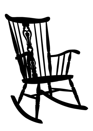 Vintage Rocking Chair Stencil - Right Side Tilted Vector
