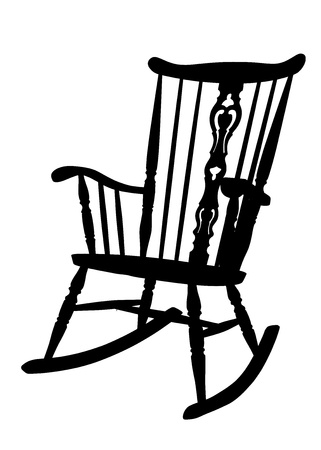 vintage chair: Vintage Rocking Chair Stencil - Left Side Tilted Illustration
