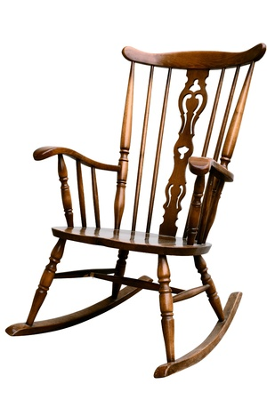 vintage chair: Vintage Damaged Rocking Chair - Left Side Tilted
