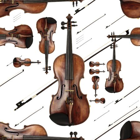 jazzy: Old Dusty Violin with Bow Lively Endless Pattern Stock Photo