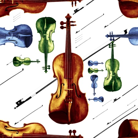 truncated: Old Dusty Violin with Bow Jazzy Endless Pattern Stock Photo