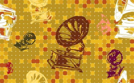 jazzy: Funky and autumn flavored decorative bAutumn Seasoned Vivid Antique Gramophone Funky Seamless Tile