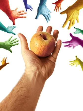 on demand: Hand Offering Juicy  Nutritious Apple to Community Multicolor