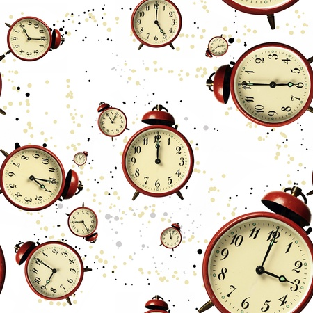 Vintage Scattered Bell Clocks Seamless Wallpaper With Spots