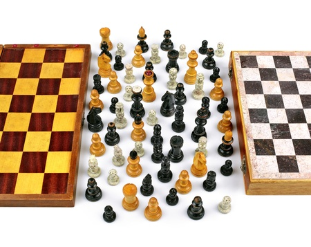 tolerance: Two Old Chessboards with Figurines in Peace and Union