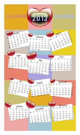 Dearest Calendar - Colorful Vivid Lovely Date Chart V1 Stock Vector - 18026349