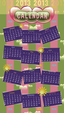 dearest: Dearest Calendar 2013 - Colorful Vivid Lovely Date Chart V2 Illustration