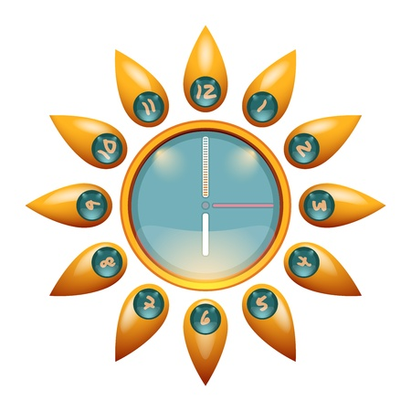 starlike: Sunny Face Wall Clock Illustration