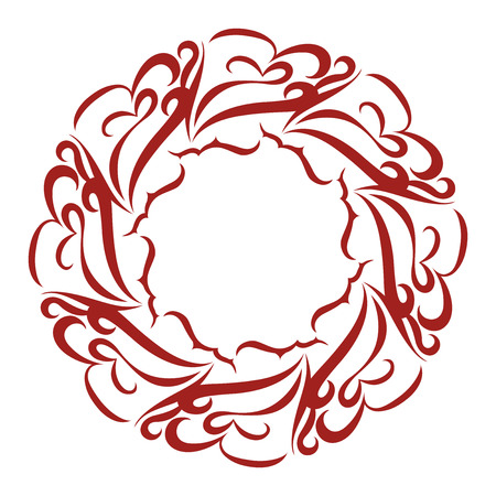 Pretty and Curly Round Lace Frame Vector