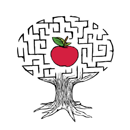 Apple In The Labyrinth Tree Of Knowledge Illustration