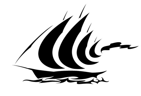 clipper: Cruise Yacht Symbol Illustration
