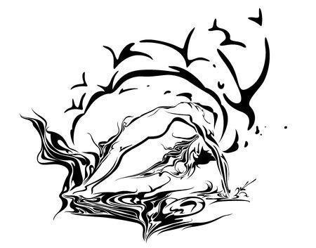 практика: Йога Практика Произведение Иллюстрация