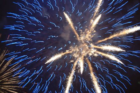 guy fawkes night: Blue and white salute in sky on new year celebration Stock Photo