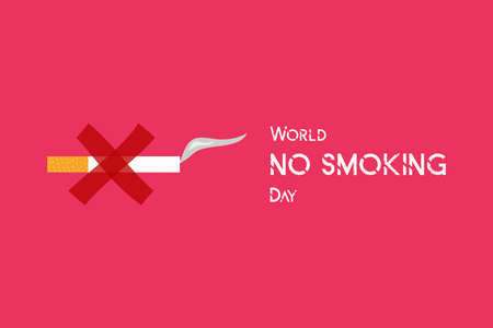 10 March World No Smoking Day concept design. No Tobacco Day poster. Stop smoking sign for awareness infographic. The cigarette was duct-taped on the wall defines to stop smoking. Poster and Banner Ilustração Vetorial