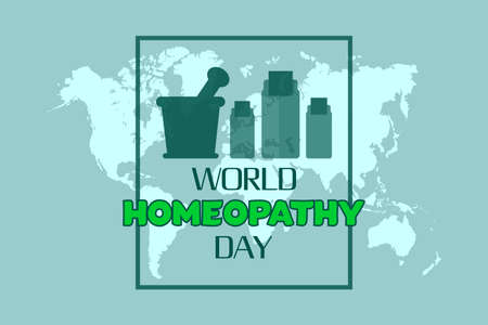 World Homeopathy day vector background design. Global map background and with homeopathy liquid bottle