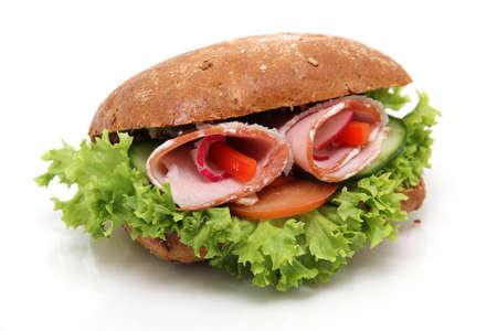 delicious ham sandwich isolated on white background photo