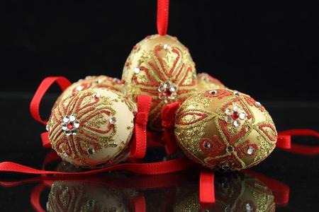 easter eggs on black background photo
