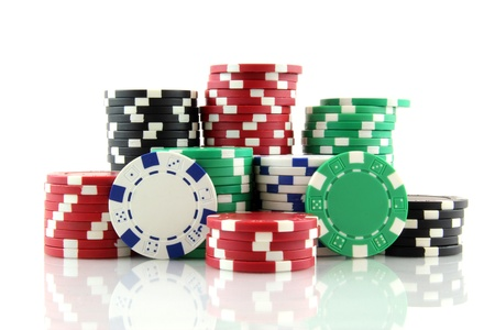 stack of casino gambling chips on white background 写真素材