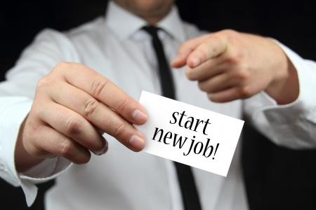 仕事: ジョブの新しいビジネス カードを開始します。 写真素材