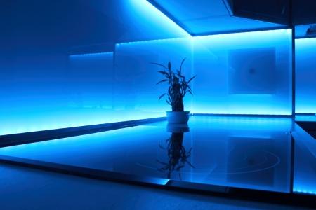 led lighting: modern luxury kitchen with blue led lighting Stock Photo
