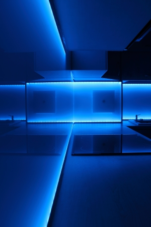 modern luxury kitchen with blue led lighting Stock Photo - 14674170