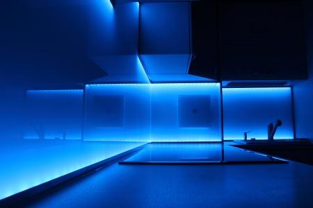 modern luxury kitchen with blue led lighting 写真素材