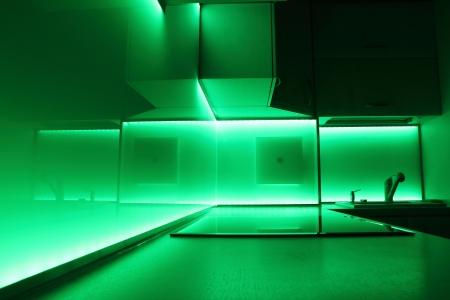 modern luxury kitchen with green led lighting Stock Photo - 14674173