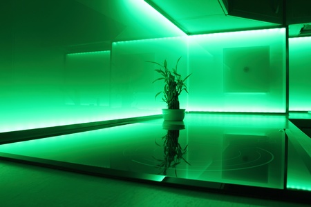 led lighting: modern luxury kitchen with green led lighting Stock Photo