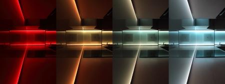 led lighting: modern luxury kitchen with led rgb lighting Stock Photo