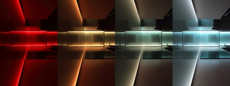modern luxury kitchen with led rgb lighting Standard-Bild