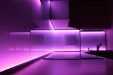 modern luxury kitchen with purple led lighting Stock Photo - 14674176
